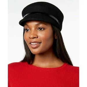 Nine West Wool Felt Newsboy Black Cap
